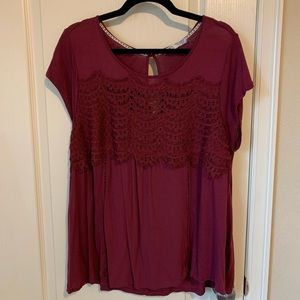 Wine colored top with crochet detail